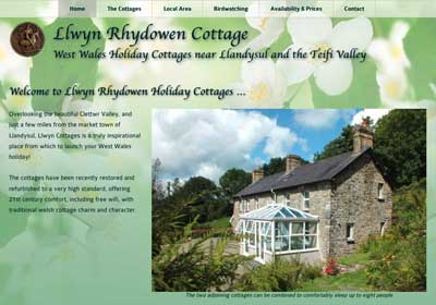 Llwyn Rhydowen Holiday Cottages website