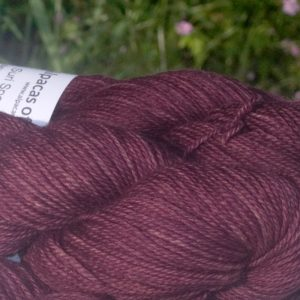 Alpacas of Wales semi-solid deep heather purple Suri & Baby Alpaca sport weight yarn. hand dyed by Triskelion Yarn