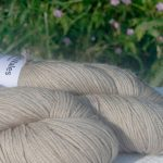 Alpacas of Wales light pebble grey Suri & Baby Alpaca sport weight yarn. hand dyed by Triskelion Yarn