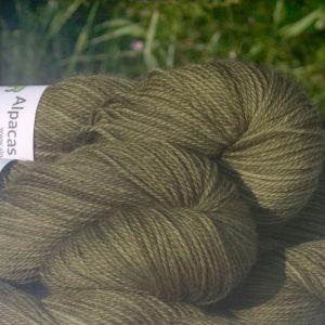 Alpacas of Wales semi-solid olive green Suri & Baby Alpaca sport weight yarn. hand dyed by Triskelion Yarn
