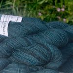 Alpacas of Wales semi-solid petrel blue grey Suri & Baby Alpaca sport weight yarn. hand dyed by Triskelion Yarn